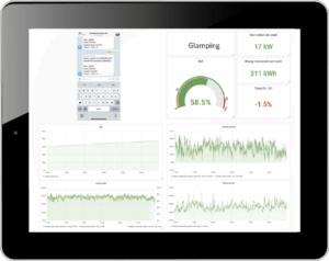A tablet showing our forecasting software