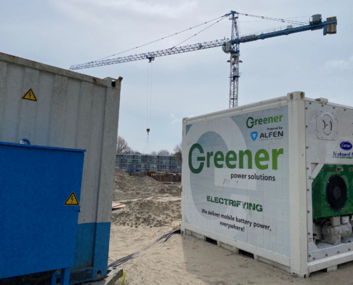 Greener battery powering a tower crane
