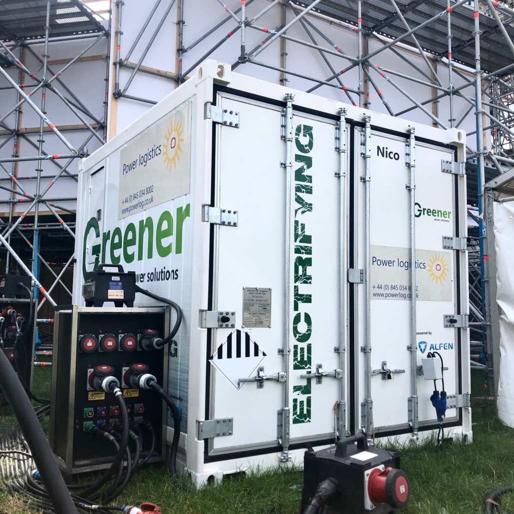 Greener battery with the Power Logistics logo powering the British Summer Time festival